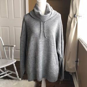 Beautiful gray cowl neck sweater with pockets